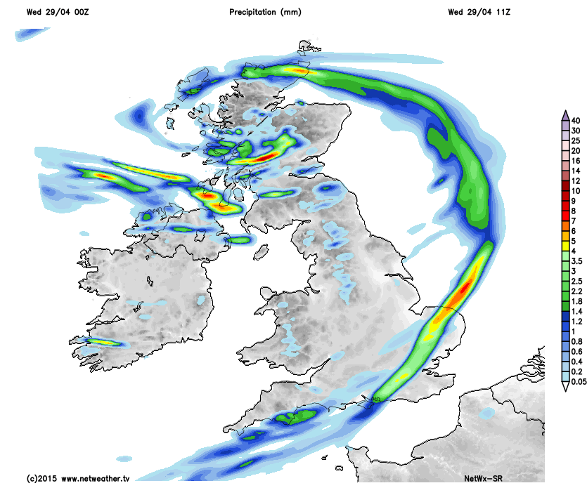 Blustery heavy showers behind rain band