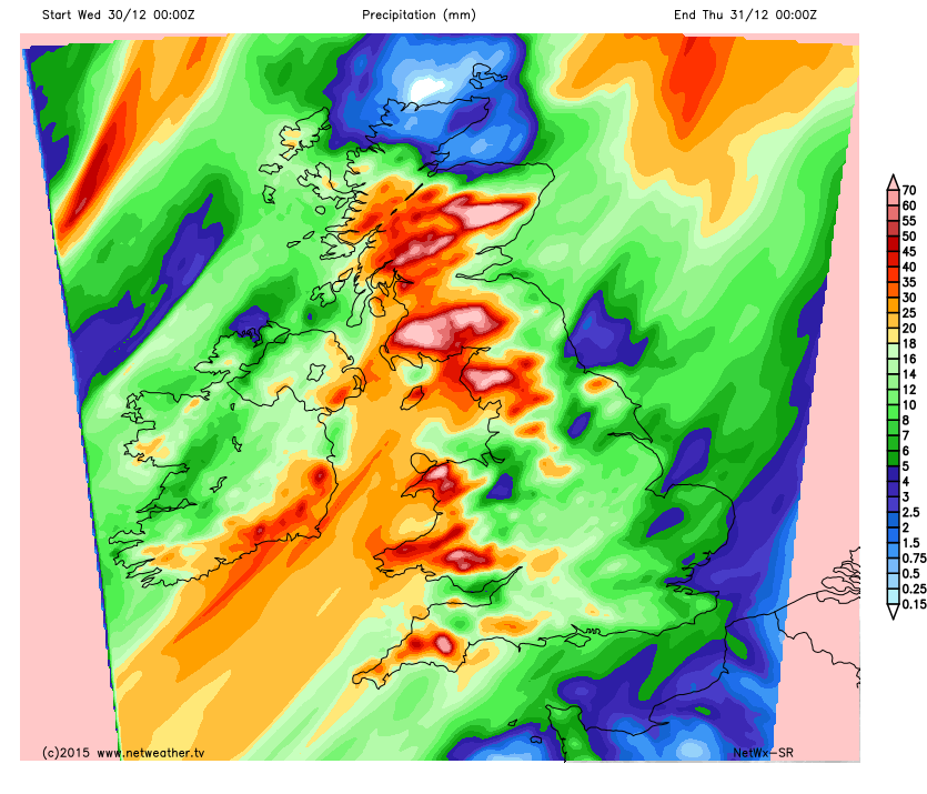 Rain totals on Wednesday
