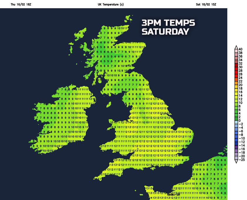 Very mild on Saturday
