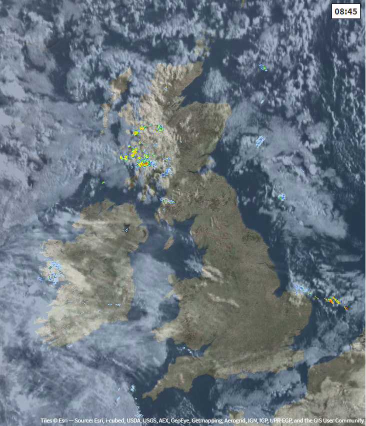 Satellite and radar from earlier this morning