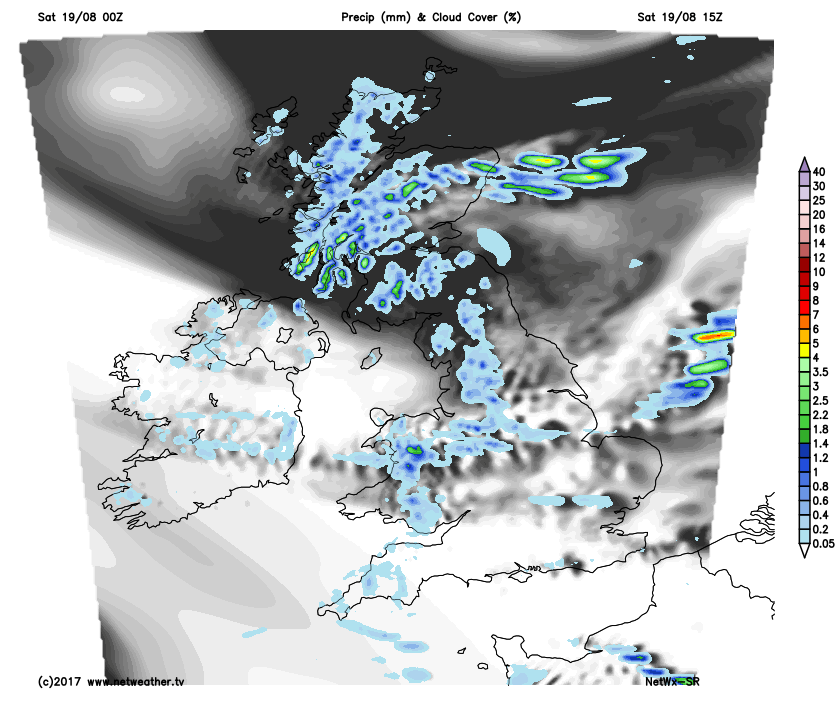 Showers in the north and west on Saturday
