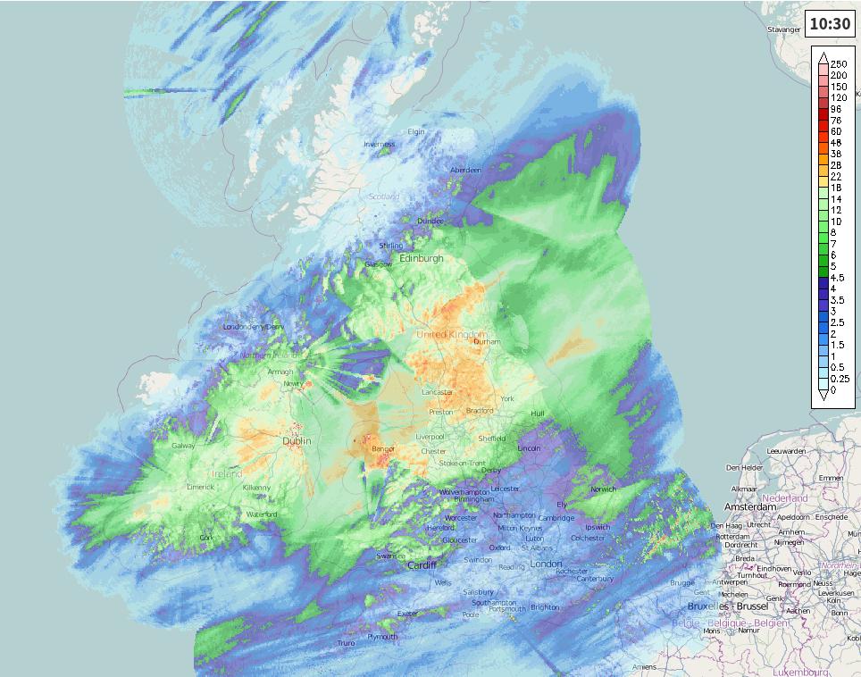 24 hour rainfall total map