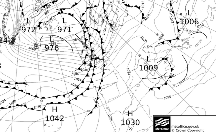 Met office fax analysis showing the cold fronts over the UK