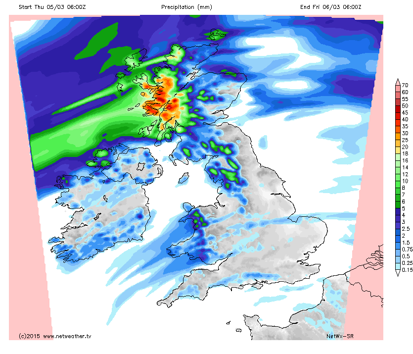 High Rain Totals For Western Scotland