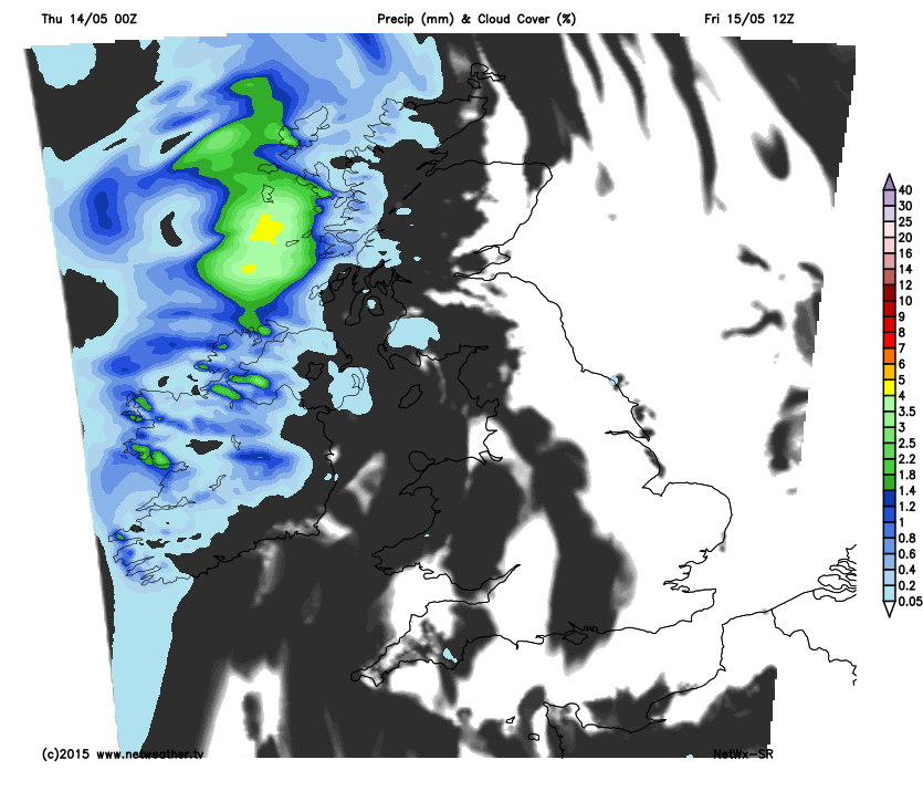 Rain arriving from the NW on Friday