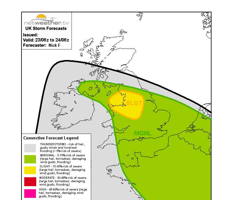 Storm forecast map for Sunday