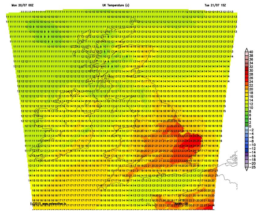 Temperatures tomorrow afternoon
