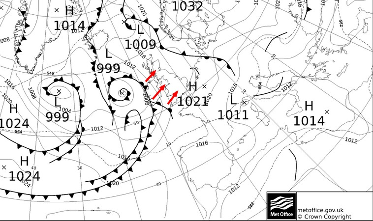 Weather fronts arrive from the southwest Wednesday