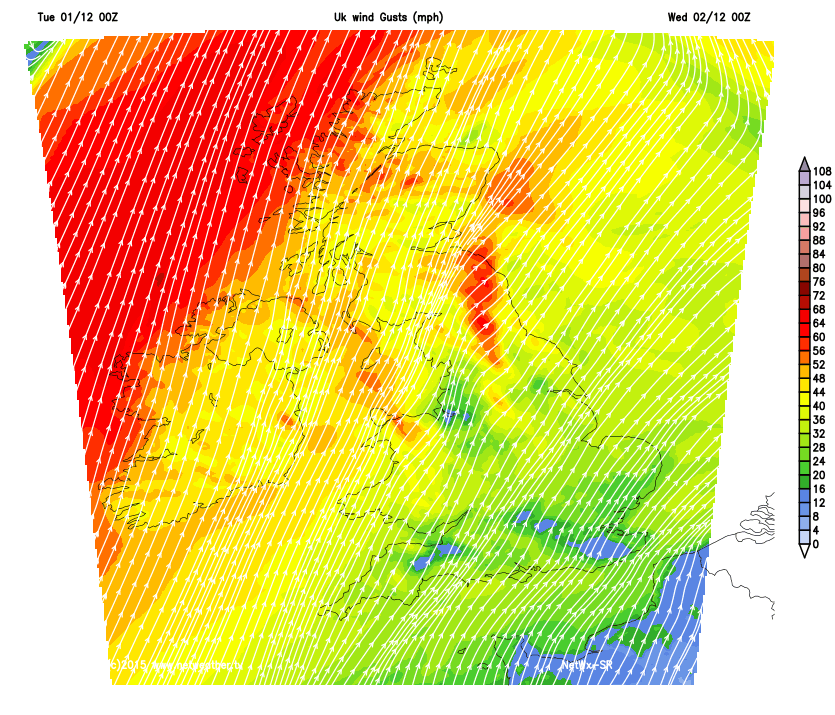 Windy overnight in the north and especially northwest
