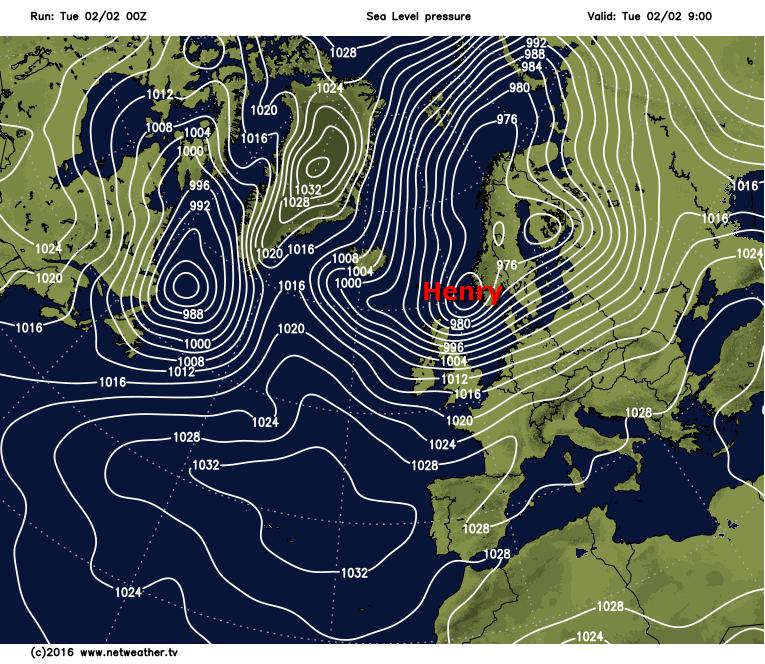 Storm Henry easing away toward Scandinavia this morning