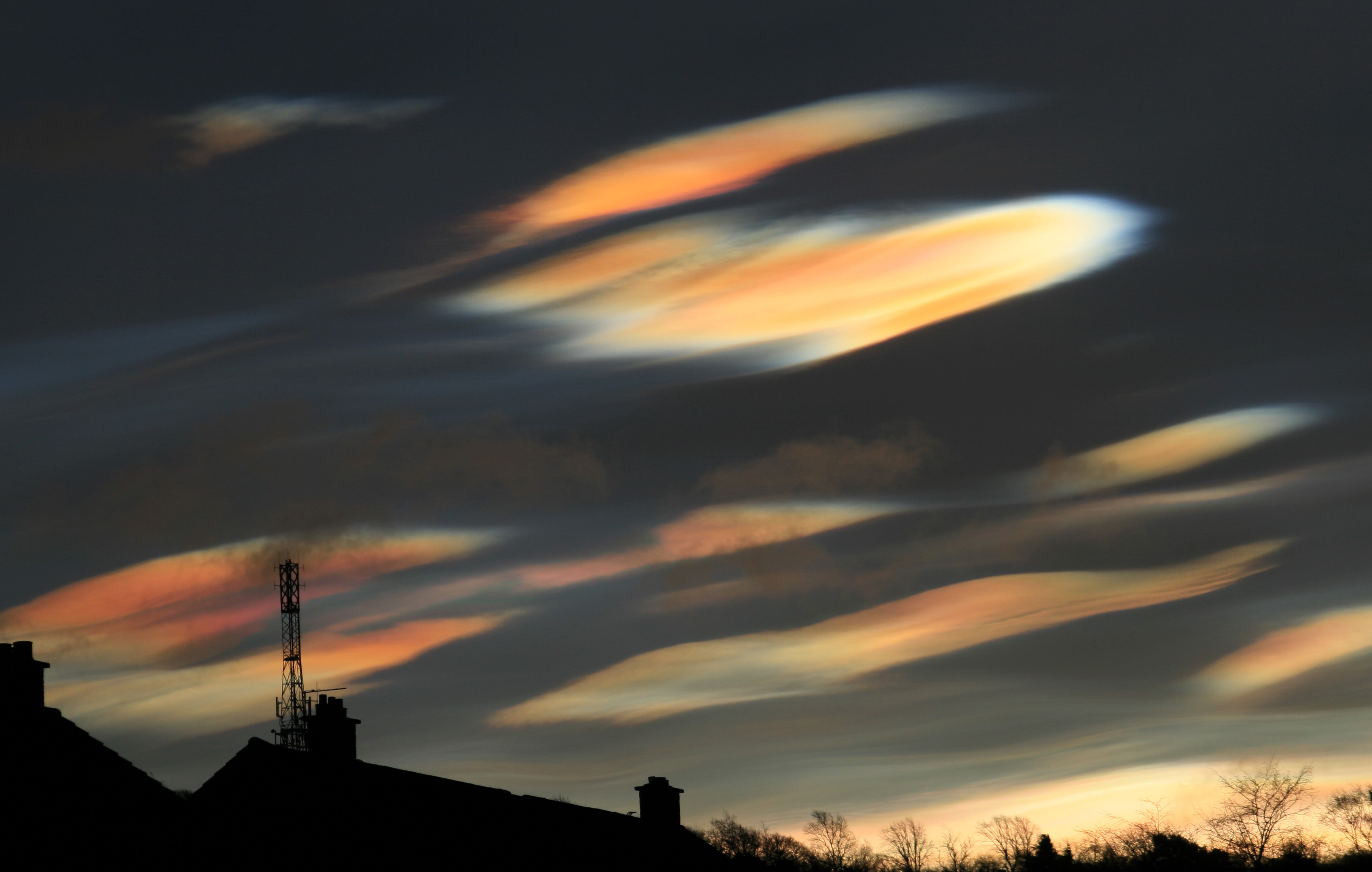 Seen rainbow-like, mother of pearl clouds? Rare Nacreous