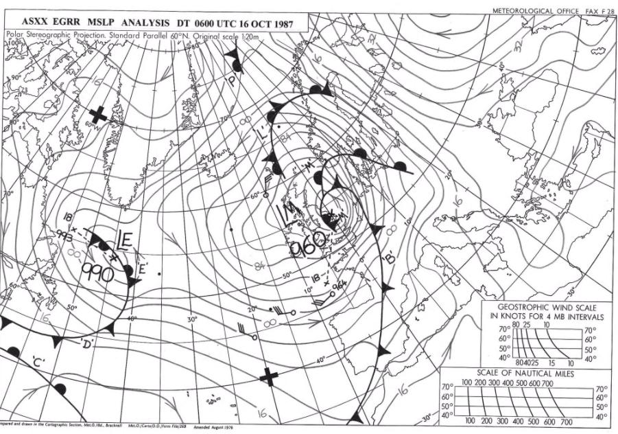 Great Storm 1987 Michael Fish ASXX pressure chart