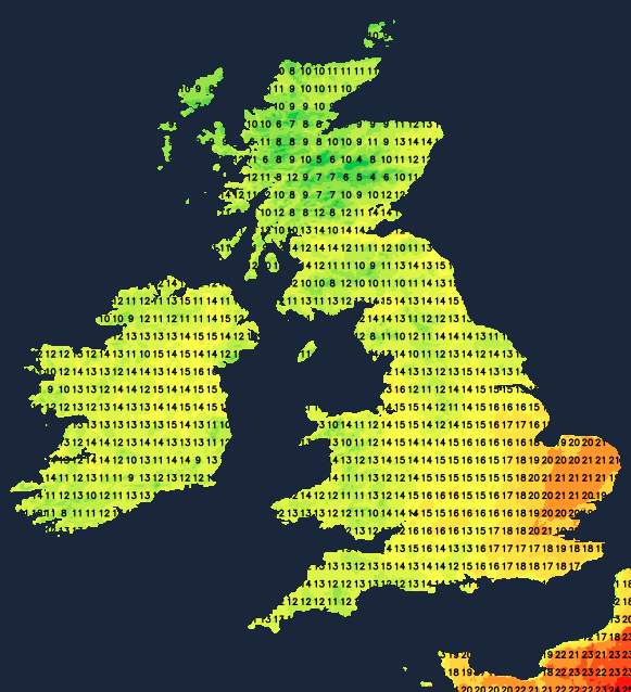 Temperatures on Sunday afternoon - reaching 20-22c in southeastern parts