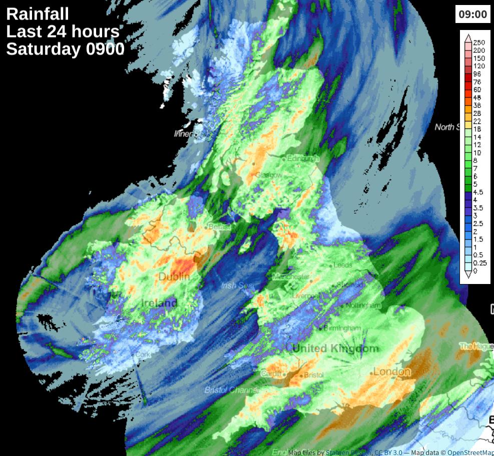 Rainfall over the last 24 hours