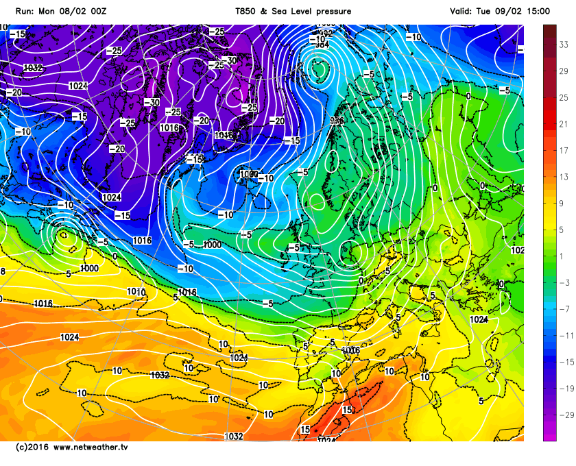 Colder air drawn in on Tuesday