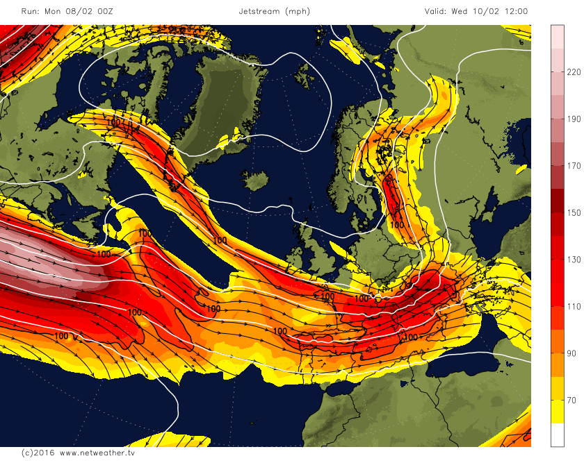 Jet stream to the south of the UK