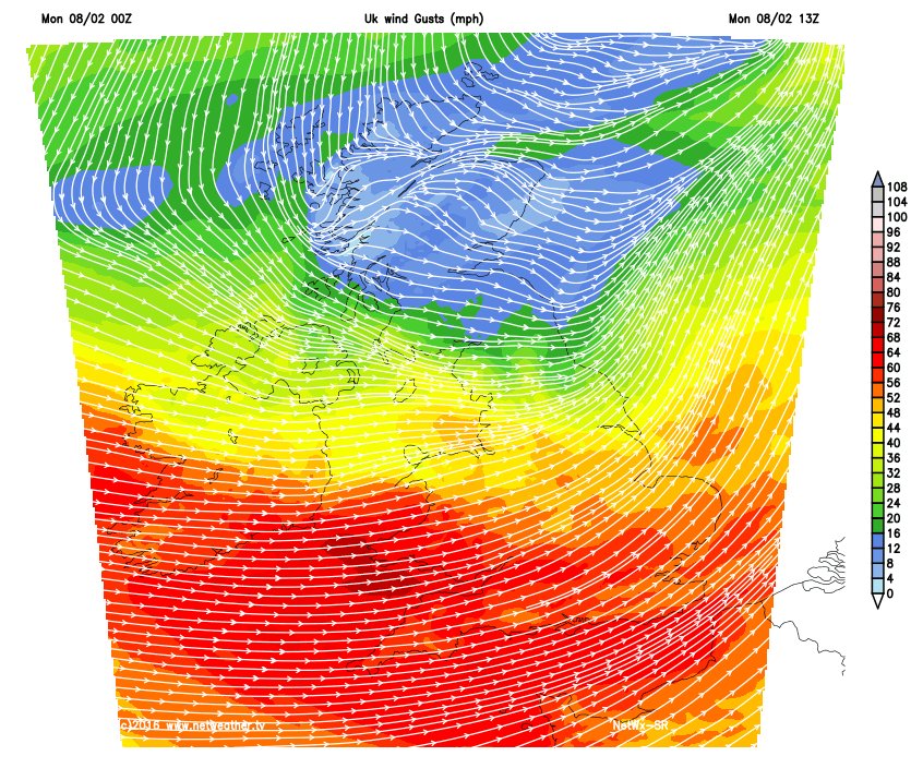 Gusts of 60-80 mph bought by Storm Imogen
