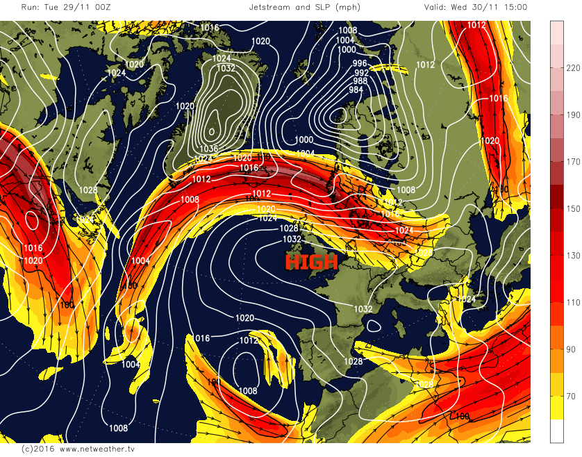 Jet stream over the north of the UK