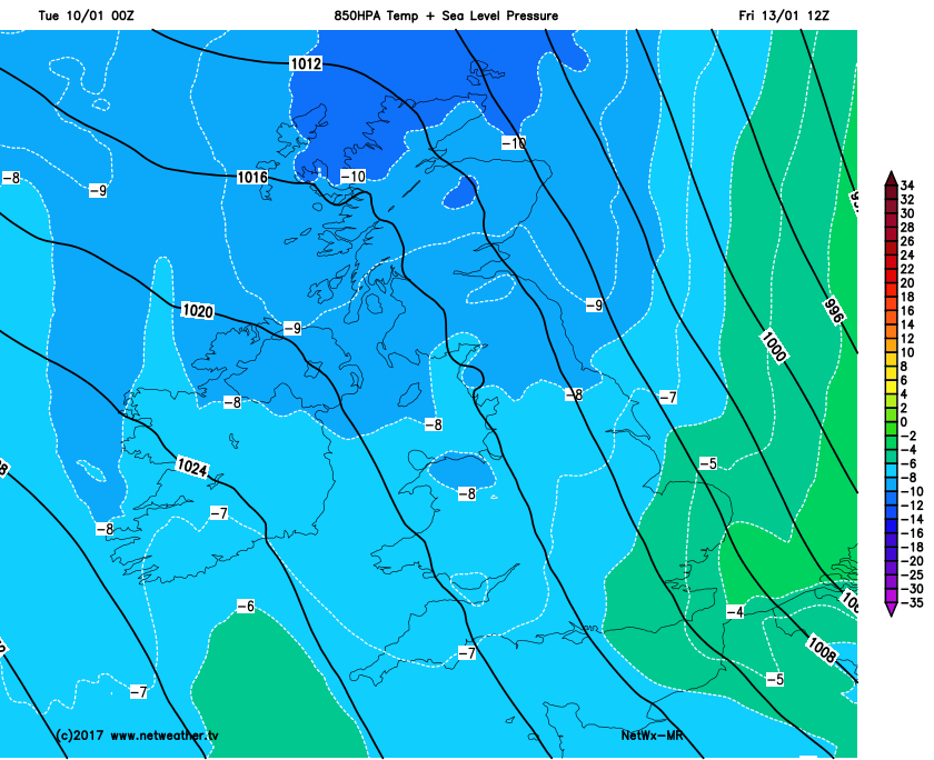 Cold air across the UK
