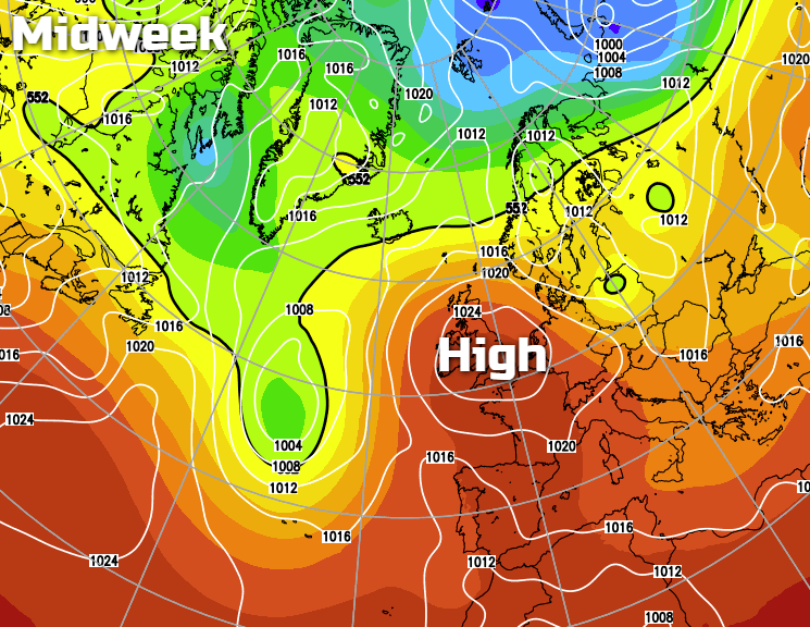 High pressure over the UK