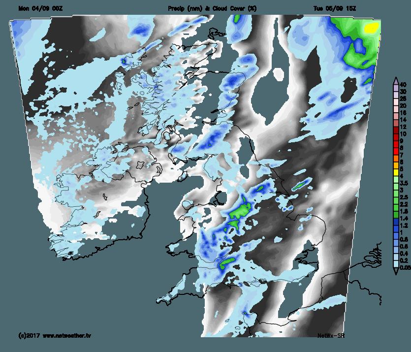 Rain and cloud map for tomorrow