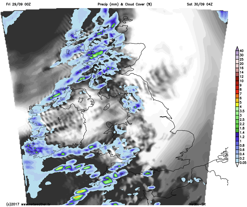 Showers in the west overnight