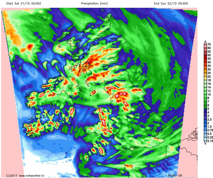 Rain totals on Saturday