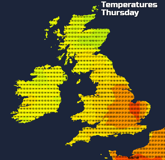 Temperatures on Thursday