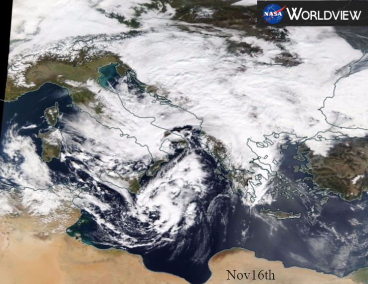 Potential Medicane - Mediterranean tropical-like storm. Flooding, gales and lightning