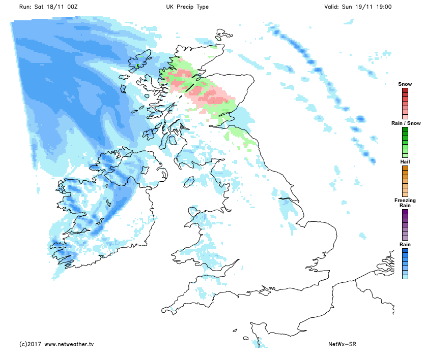 Rain and snow affecting Scotland