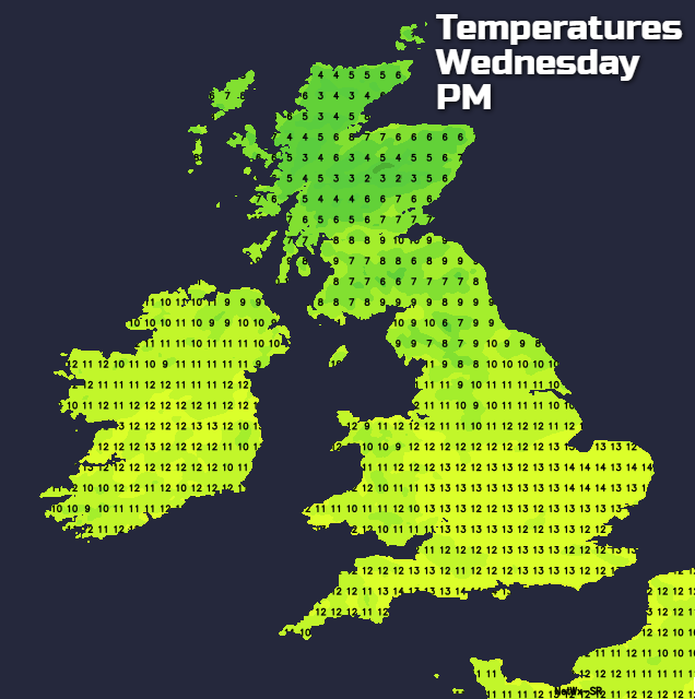 Temperatures on Wednesday