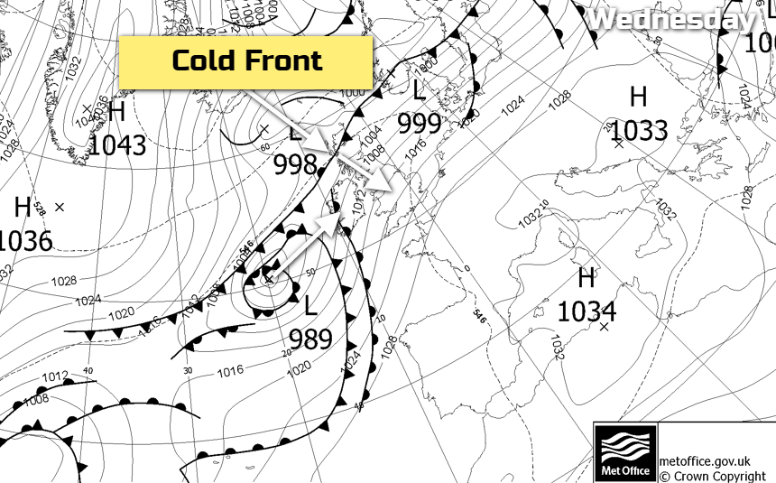 Cold front in the northwest