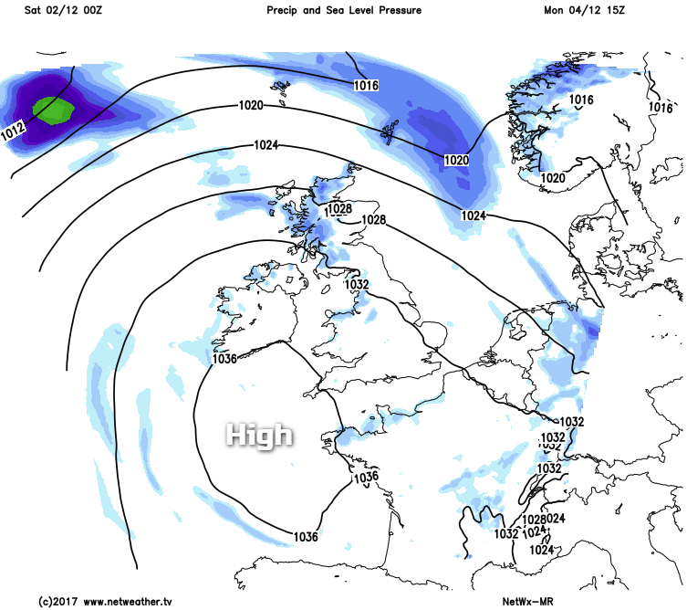Monday high pressure to the south