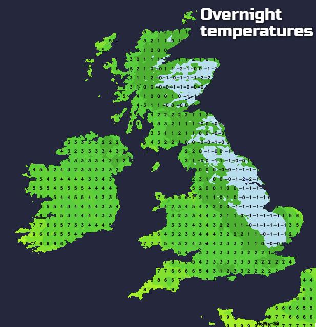 Overnight temperatures