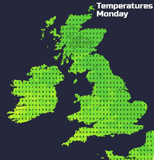 Temperatures Monday