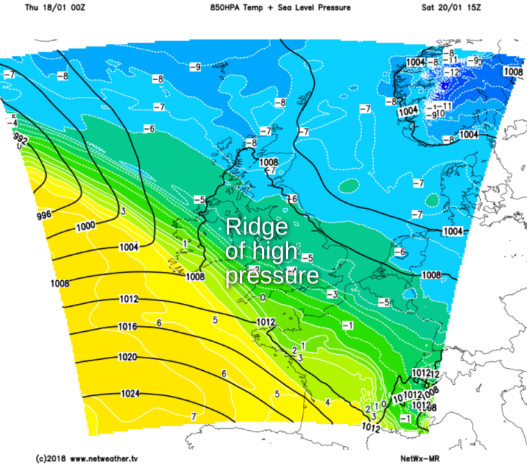 Ridge of high pressure on Saturday