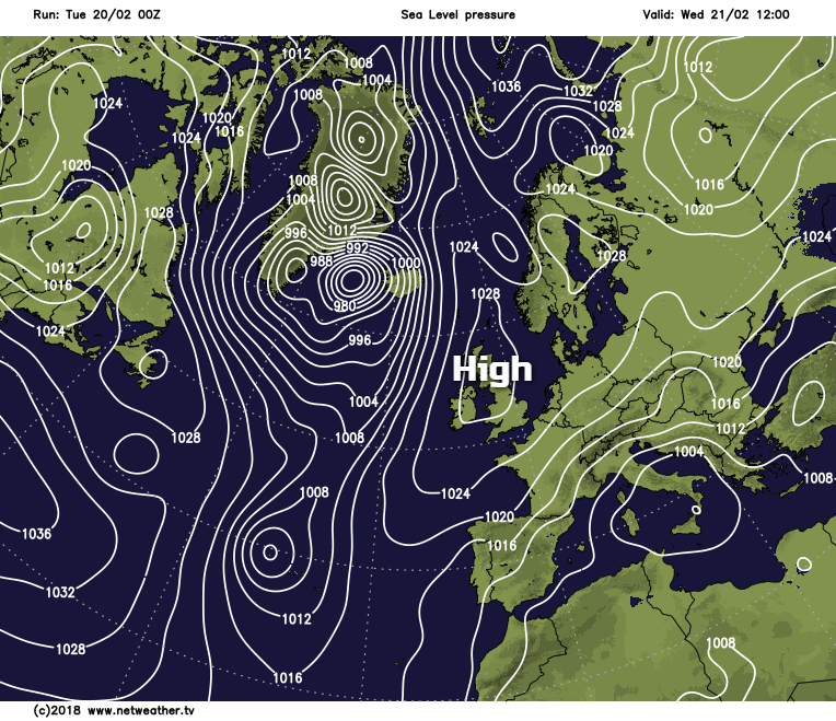 High pressure on Wednesday