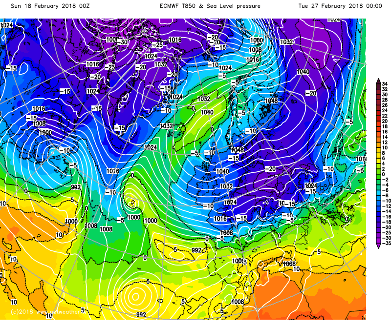 ECMWF model showing very cold weather