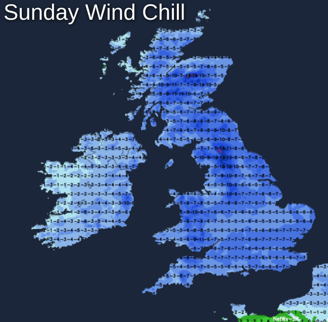 Very cold wind chill on Sunday