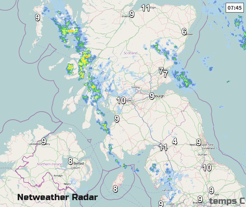 a few showery bits over Scotland this morning. Radar picture