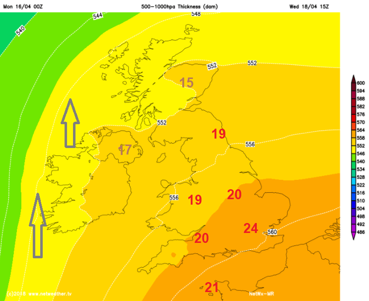 Wednesday warmth 24C in London, high teens low 20s C