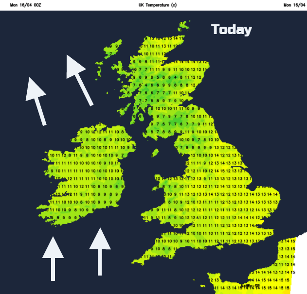 brisk south winds for Ireland. Temps today 10 to 16C