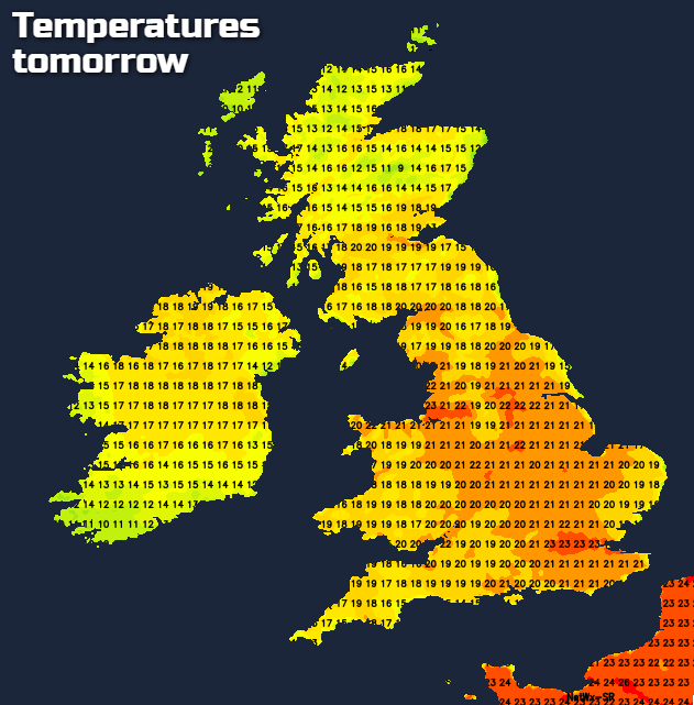 Temperatures tomorrow