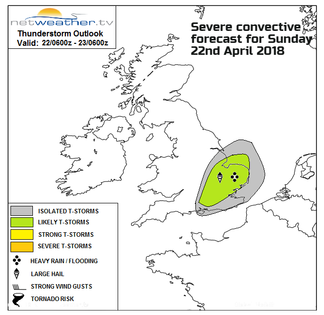 Thunderstorms risk area SE Britain Sunday