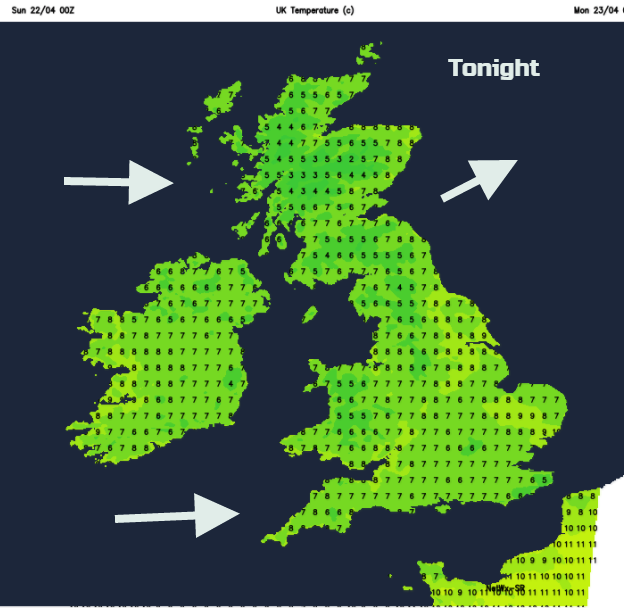 Cooler. Overnight mins UK 6 to 9C