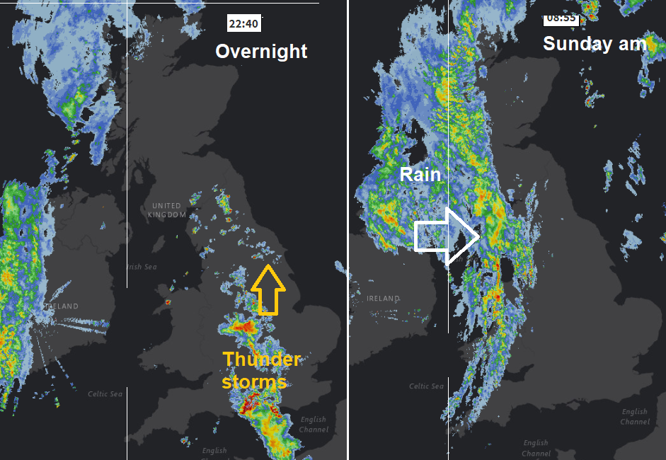 Frontal rain band from west on radar image