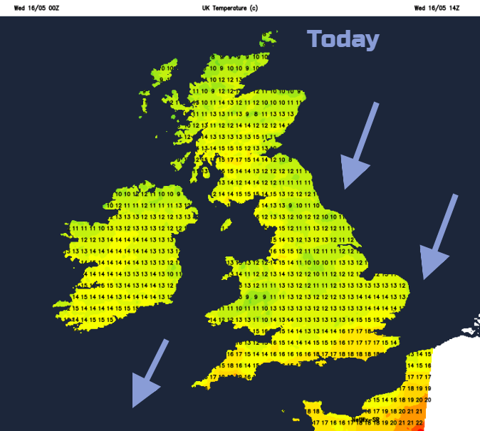 Cooler Wednesday 12 to 17C UK
