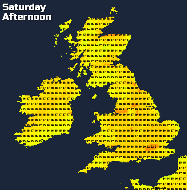 Temperatures into the low-twenties on Saturday