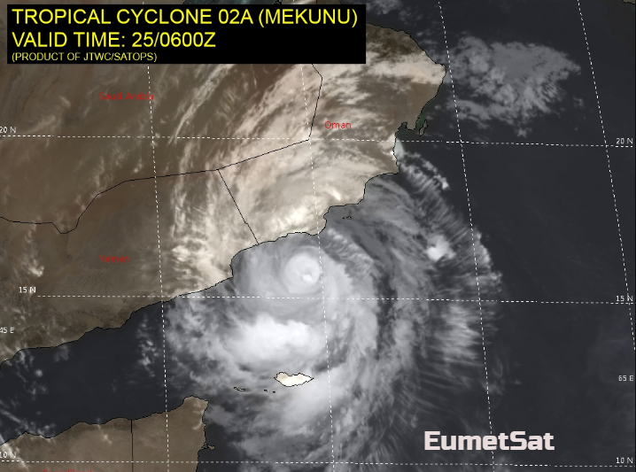 Extremely Severe Cyclone Mekunu heads for Oman and Yemen