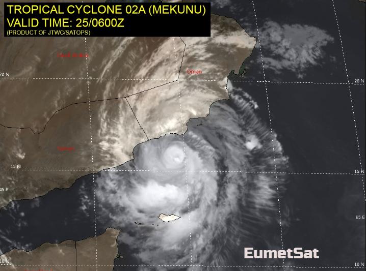 Extremely Severe Cyclone Mekunu heads for Oman and Yemen